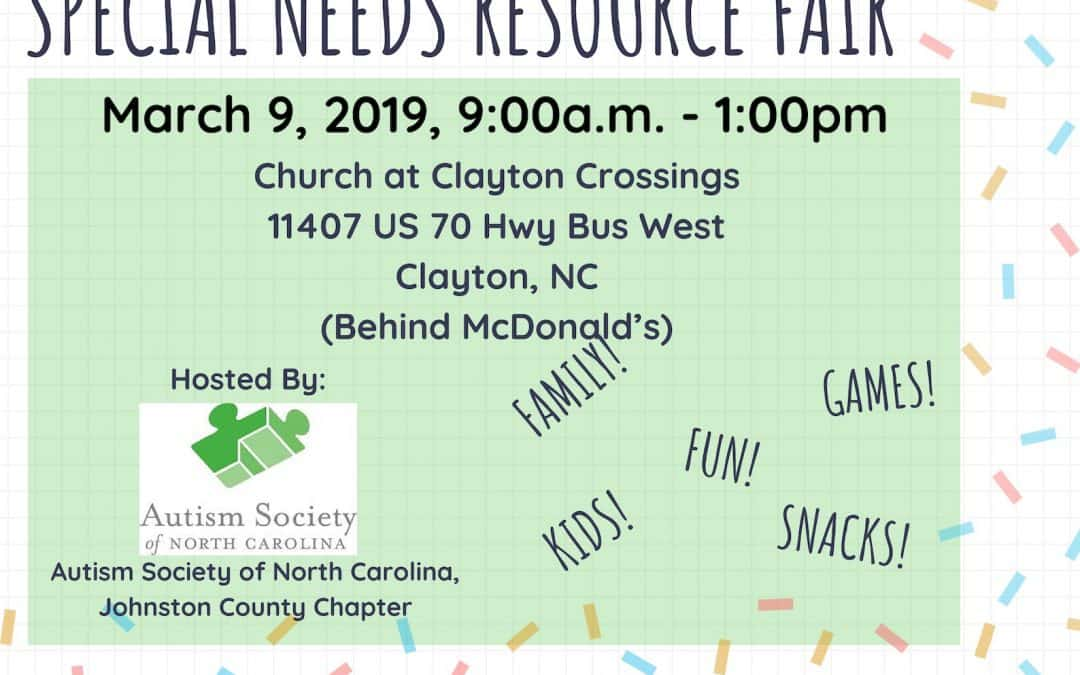 Join The Special Needs Resource Fair March 9th in Clayton, NC!